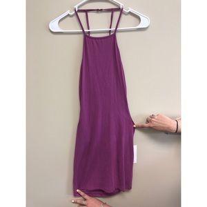 Purple open back bodycon dress
